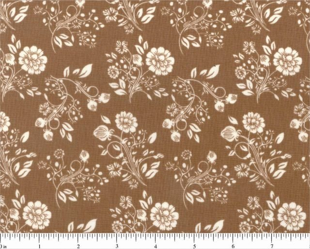 The Cumberland Collection Chocolate Brown & Ivory Floral Allover Civil War Reproduction Print 44/45 Fabric Cotton