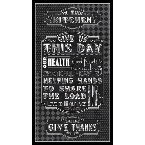 Quilting Treasures CHARCOAL - GIVE US THIS DAY PANEL 24 x 42