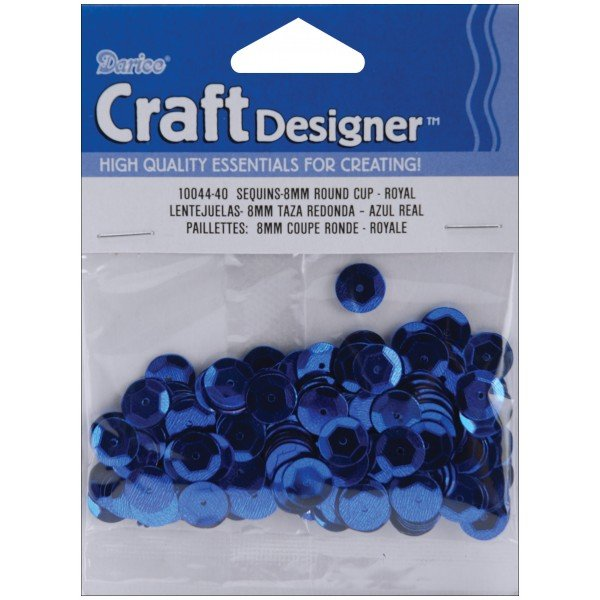 Crafts Darice Sequins 200 pc 8mm Royal Blue