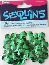 Crafts Darice Sequins 200 pc 8mm C198-6546 Kelly Green