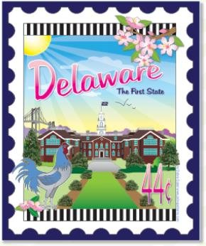 Custom State Stamp Collector Delaware 6 x 7