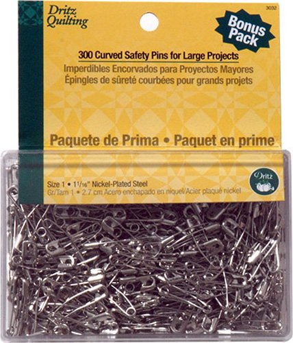 Quilter's Curved Basting Pins 300 Per Pack Size 1- 1 1/16 inch Nickel-Plated Steel