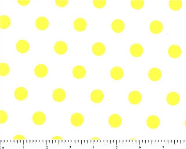 LOTSA DOTS 5/8 INCH YELLOW DOTS ON WHITE BACKGROUND Cotton Fabric