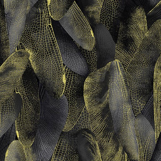 Fabric Cotton Gilded Wings Black Charcoal Metallic Dance of the Dragonfly