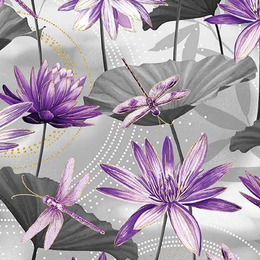 Fabric Cotton Waterlilly Pool Gray/Purple Metallic Dance of the Dragonfly