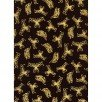 Fabric Cotton Metallic Gold Butterfly on Black 44/45 inch wide 100% Cotton