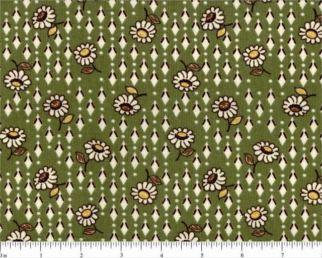 1930's Emma Lenas Treasures 30's Fabrics Green Daisies and Diamonds Choice Fabrics The Gallery Collection 42/45 Fabric Cotton