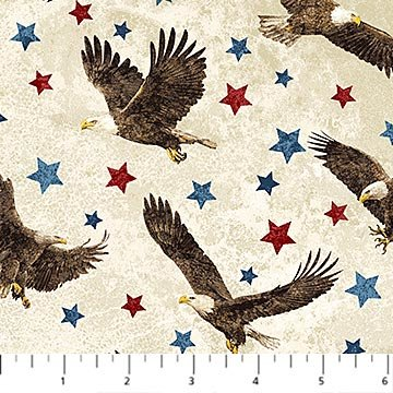 Stars & Stripes VII 39436 30 Ivory Eagles & Stars Northcott Stonehenge 44/45 100% Cotton