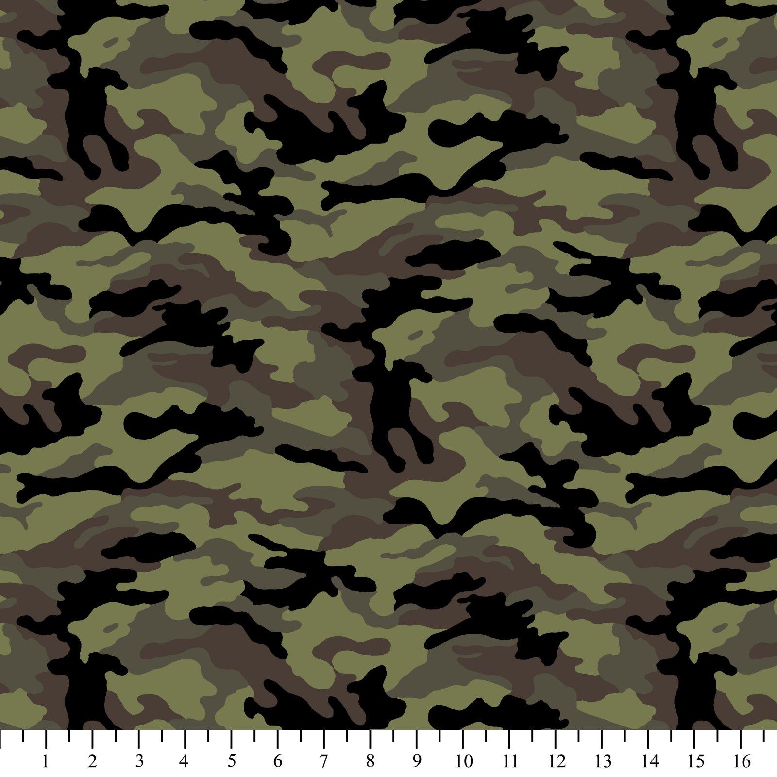 Kickin Camo -Army 03 Camouflage David Textiles 44/45 100% Cotton - copy