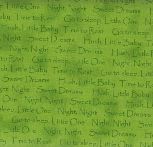 Quilting Treasures Sweet Dreams Green Sayings 44/45'' 100% cotton