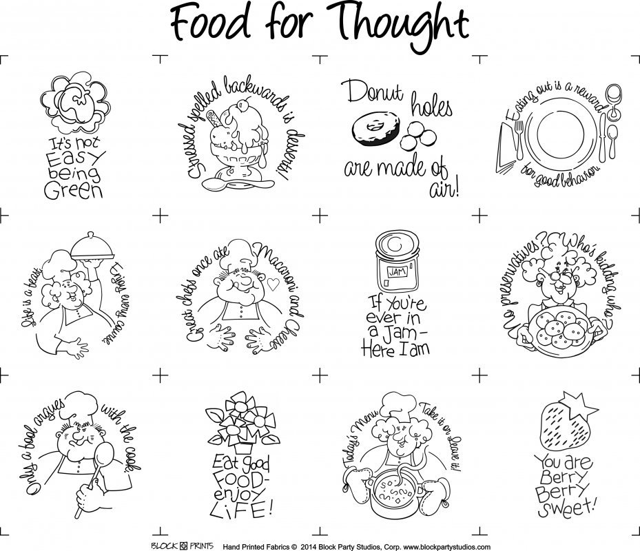 Block Party Studios Food for Thought Quilt PRE-PRINTED PANEL BLACK INK on WHITE