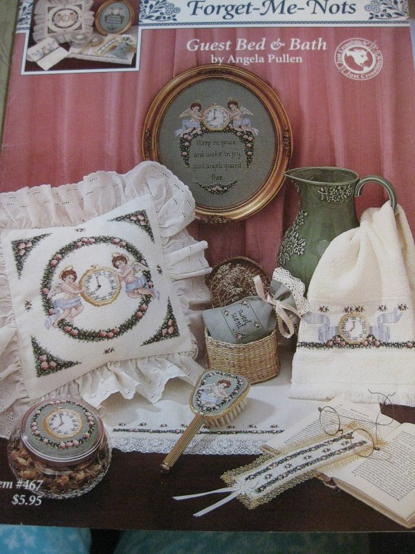 Forget-Me-Nots  Guest Bed & Bath by Angela Pullen Counted Crossstitch Item 467