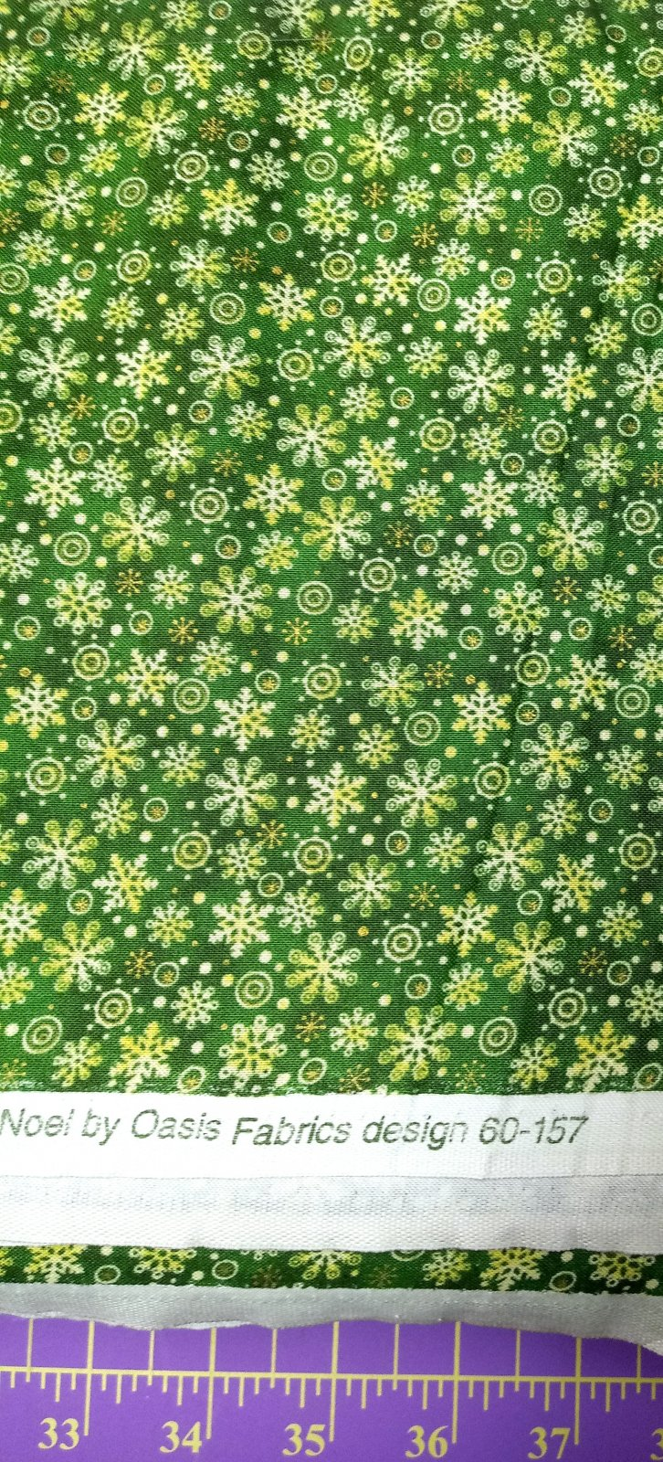 Noel Stars Metallic Green Snowflakes