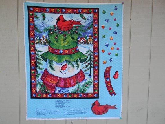 Fabric Cotton Panel Happy Snowman by Debra Jordan Bryan