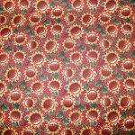 Harvest Sunflowers rust and gold on rust and white dots 100% cotton fabric 44/45
