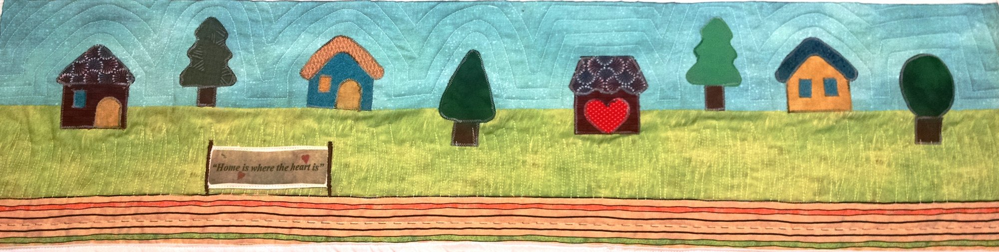 Row by Row Kit 2016 Home is Where the Heart is Applique houses includes banner