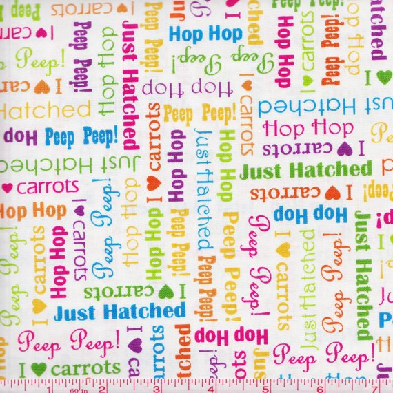 Fabric Cotton Quilting Treasures Just Hatched White Animal Words