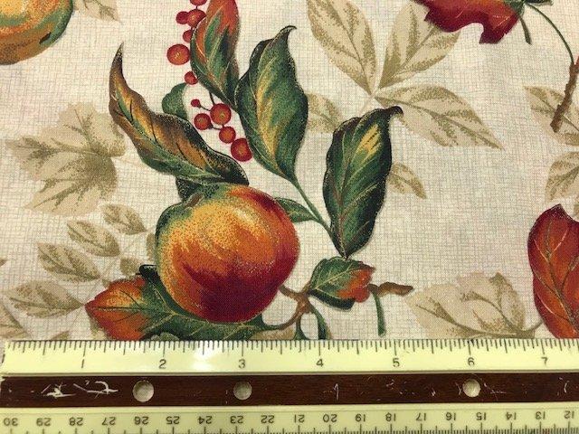 Fabric Cotton 58 Metallic VIP CRANSTON Fall Oak Leaves and Acorns on tan metallic 58'' 100% Cotton