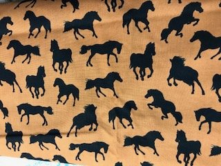Fabric Cotton Brown Fabric With Black Horses by Timless Treasures Fabric