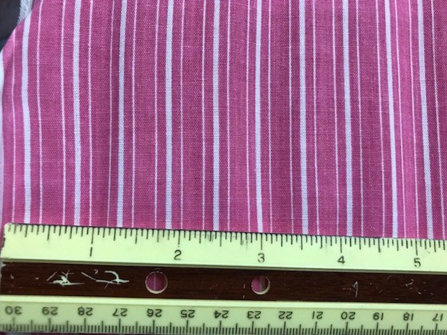 Fashion Dressmaker Fabric Pink with White Stripes 62'' wide Shirting cotton or cotton polyester