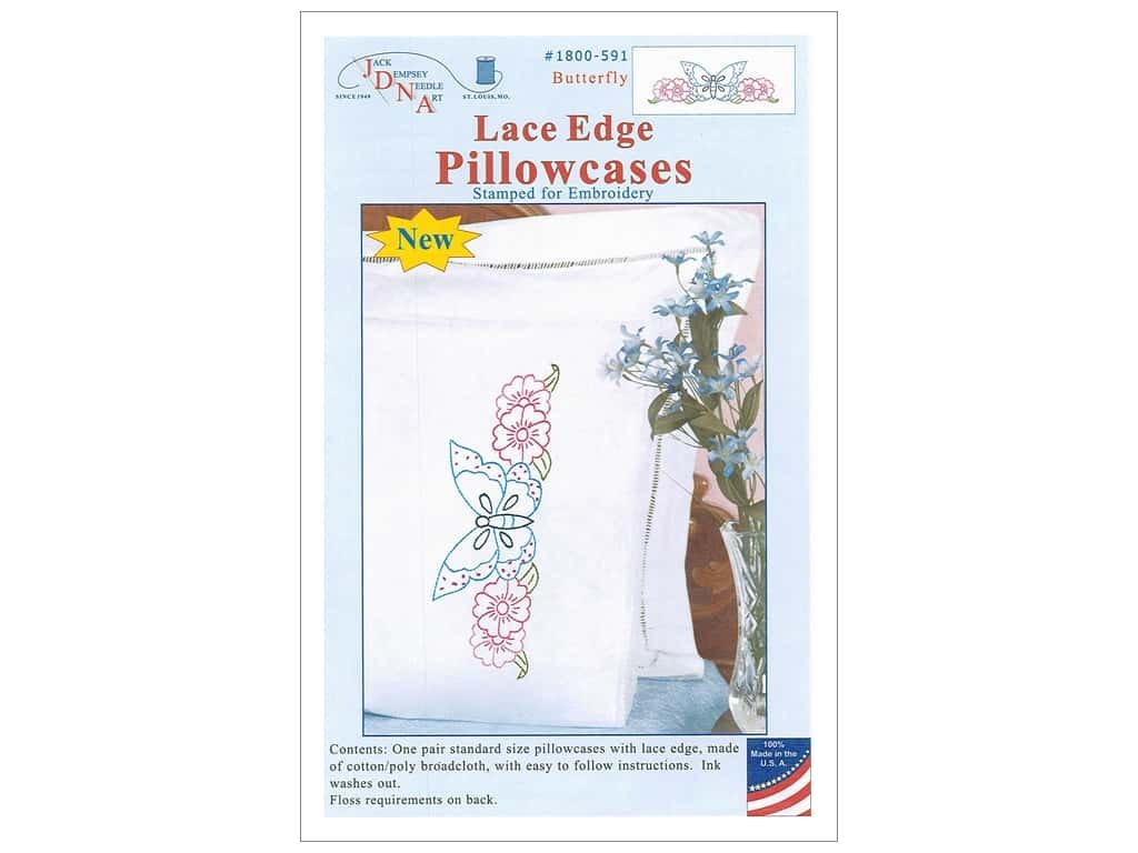 Jack Dempsey Needle Art Perle Edge Pillowcases Stamped for Embroidery Butterly 1600-591