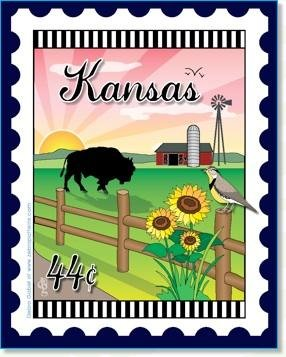 Custom State Stamp Collector Kansas 6 x 7