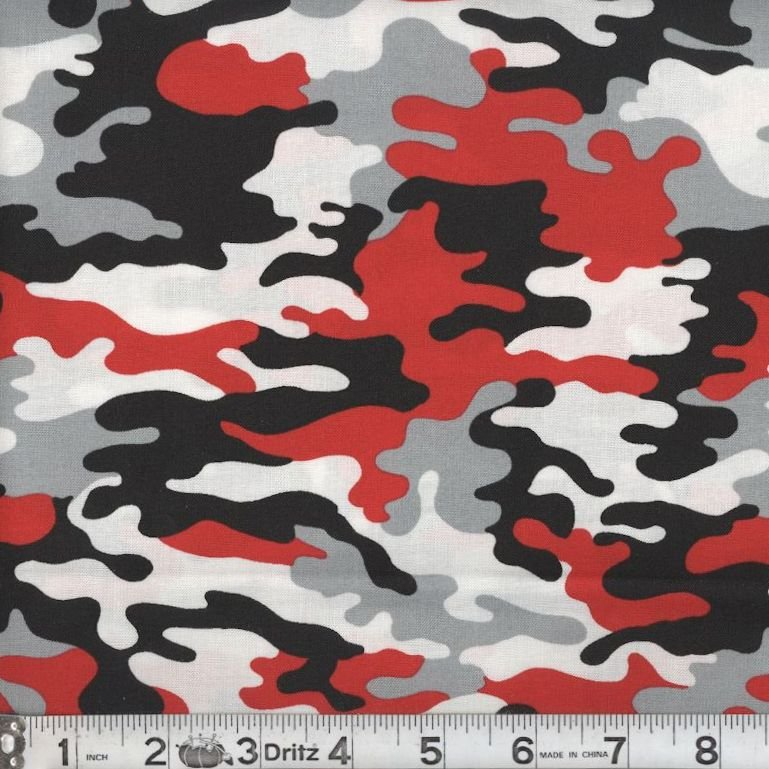 Kickin Camo - Real Red 01 Camouflage Marshall Dry Goods 44/45 100% Cotton - copy - copy - copy