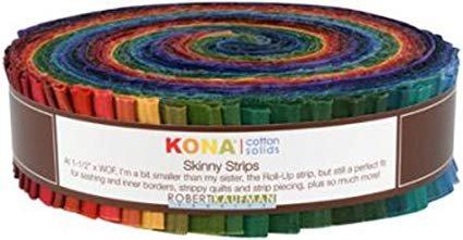 Kona 100% Cotton Skinny Roll 41 strips 1 1/2 (1.666 yds) Dark Palette # SS 107 41