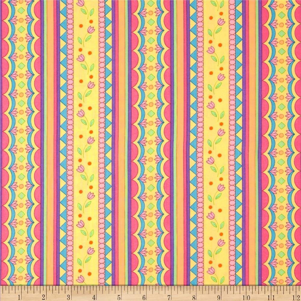 Garden Party Designed by Gerri Robinson Multi yellow stripe