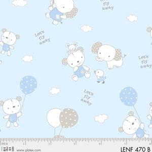 Fabric Cotton Flannel Les Enfantes Blue Animals allover