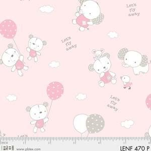 Fabric Cotton Flannel Les Enfantes Pink Animals allover