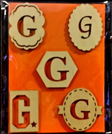 Wood Monogram Embellishment Thick Stickers ~ Assorted letters 5 pack