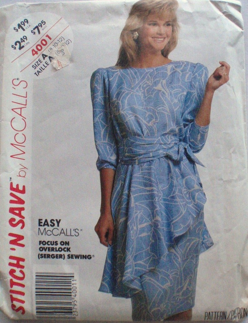 Straight Dress and Peplum Apron VINTAGE McCalls 4001 - Easy Stitch 'N Save Sewing Pattern - Size (12-14-16)