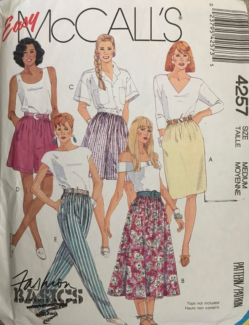 Misses Skirts Culottes Shorts and Pants VINTAGE McCall's Pattern 4257 Size Small Petite