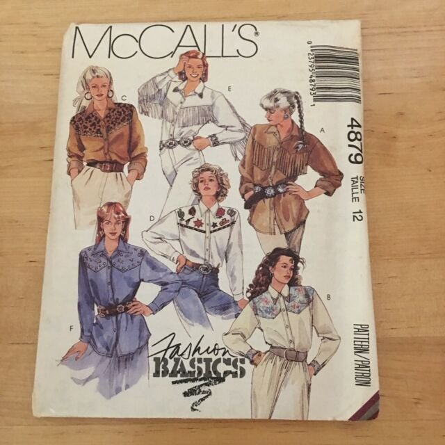 VINTAGE 1990's McCall's Rodeo Girl Shirt Pattern M-4879 Size 14