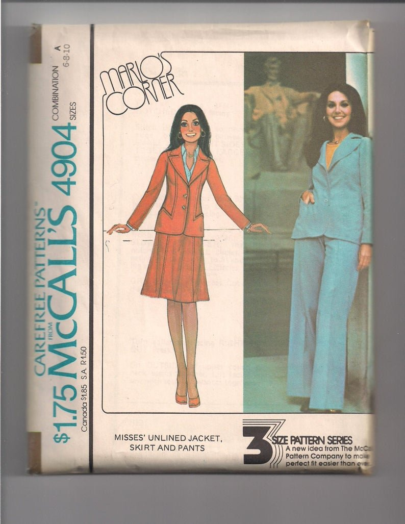 Misses Unlined Jacket Shirt and Pants Vintage 1970's McCall Pattern 4904  Size 8-10-12