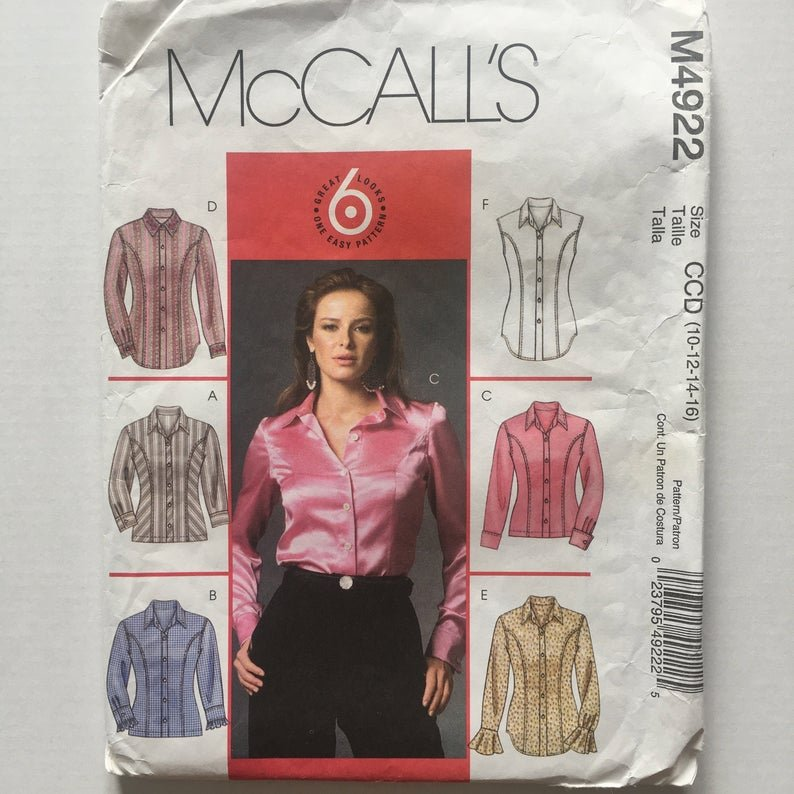 Misses'/Miss Petite Shirts McCall's Pattern 4922 Size (6-8-10-12)