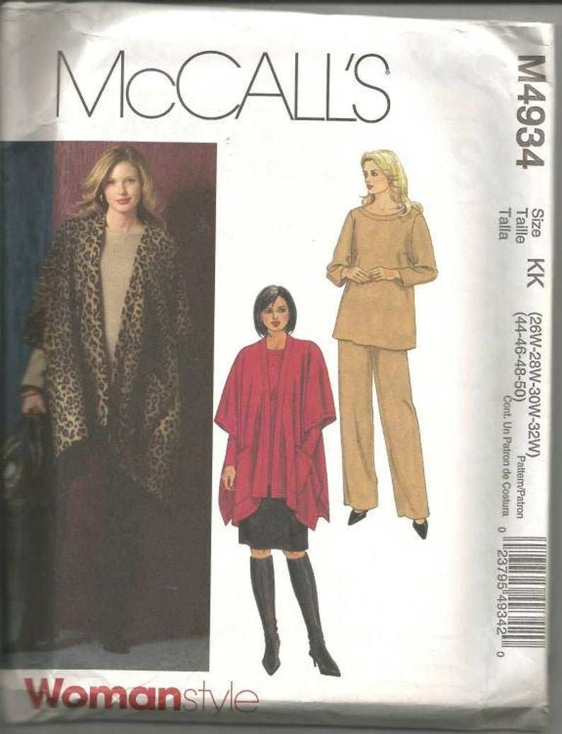 Women's Jacket top skirt and pants McCall's Pattern 4934 Size (26W-28W-30W-32W)