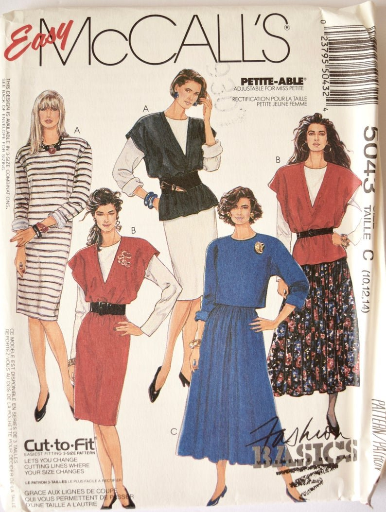 Misses Jumper or Vest Dress or Tops And Skirt McCall's Pattern 5043 Size (8,10,12)