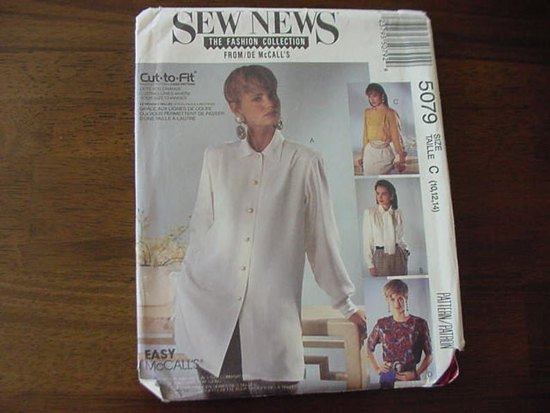 Misses' Blouses and Scarf 1990 Easy McCall's Pattern 5079 Size (8,10,12)