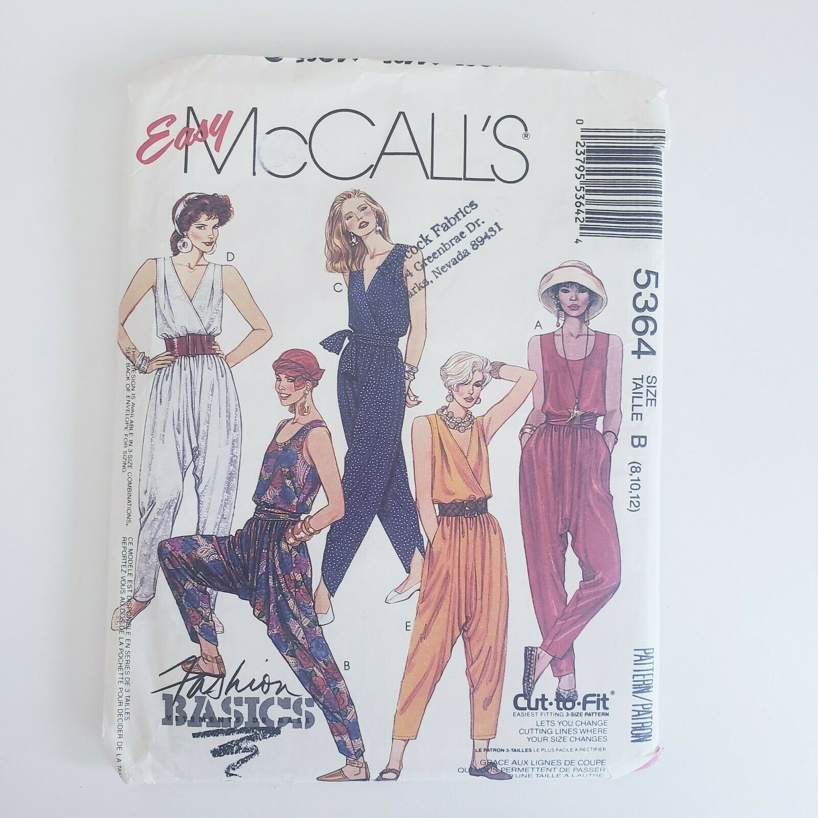 1991 Misses Jumpsuit and Tie belt McCall's Pattern Size 8,10,12