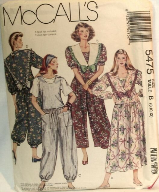 Misses Dress, Jumpsuit in two lengths and detachable Collars Vintage McCall's Pattern Size 14,16,18