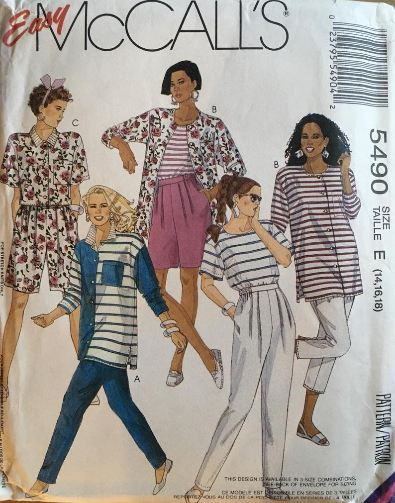 Breasted Dress Sewing Pattern Semi Fitted/ McCalls 5492/ Misses Sz 10/ Above Knee, V Neck, Shawl Collar, Shirt Dress/ Uncut Pattern 5492 Size 12,14,16