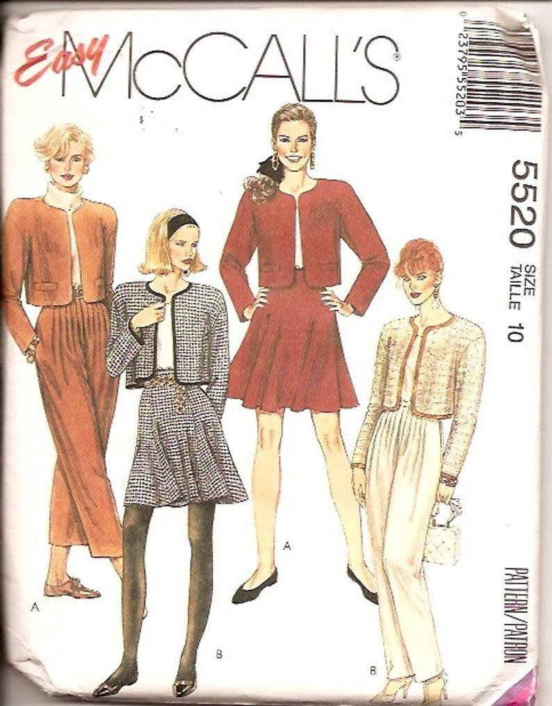 Misses Lined Jacket Skirt and Pants Vintage McCall's Pattern 5520 Size 14