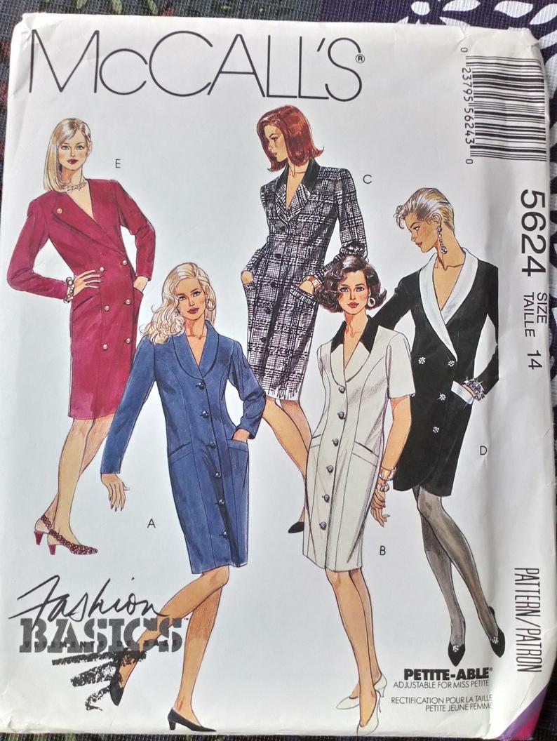 Misses Coat Dresses McCall's Pattern 5624 Size 16