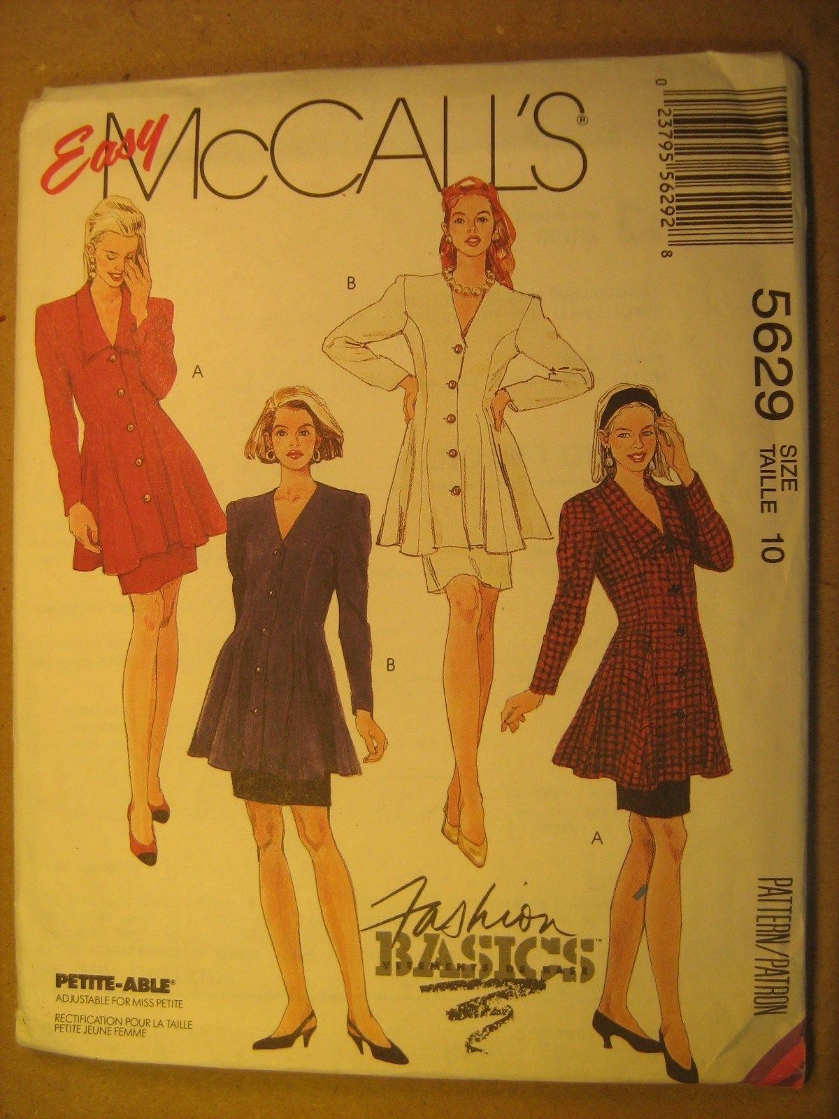 Misses Two Piece Dress (Tunic & Skirt) Vintage  McCall's Pattern 5629 Size 16
