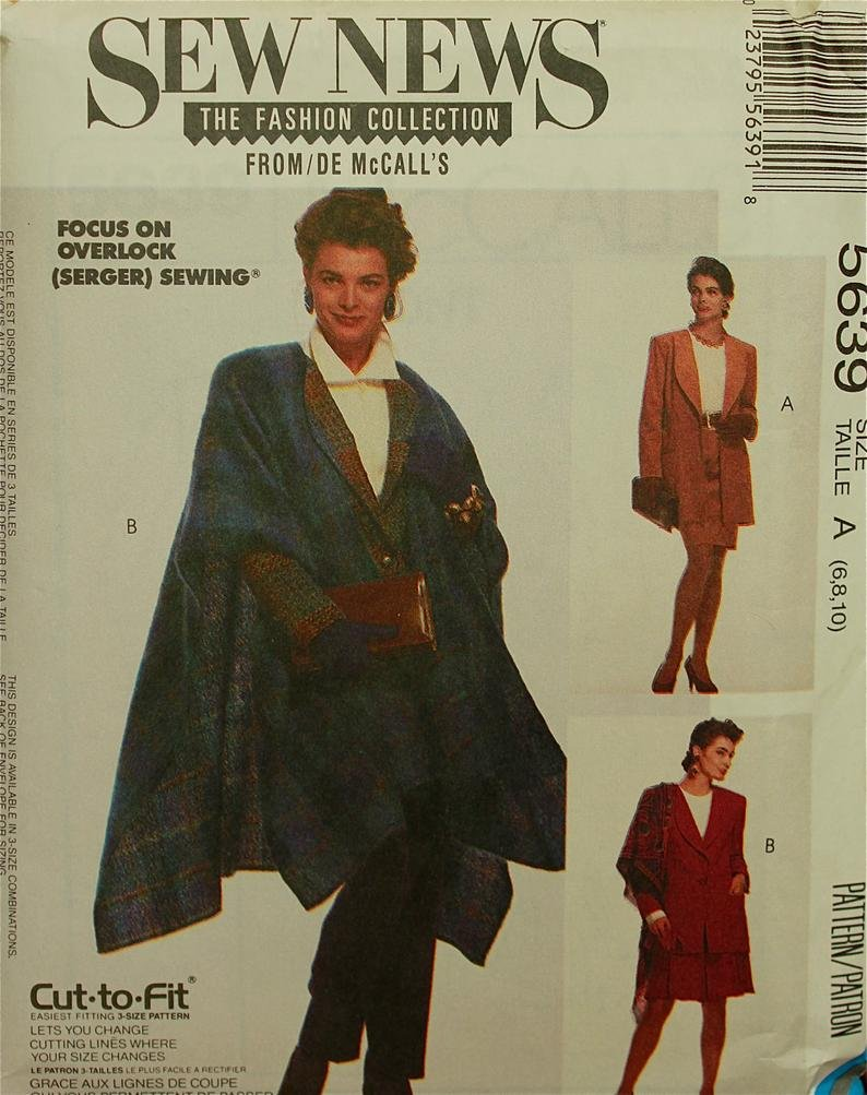 Misses Lined Jacket in two Lengths and Cape  Vintage McCall's Pattern 5639 Size 6,8,10