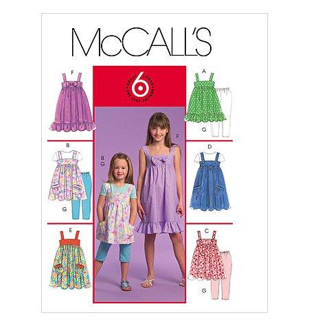 Girls Tops Dresses Leggings Sewing Pattern McCalls M5650  Size CHJ 7-8-10-12-14