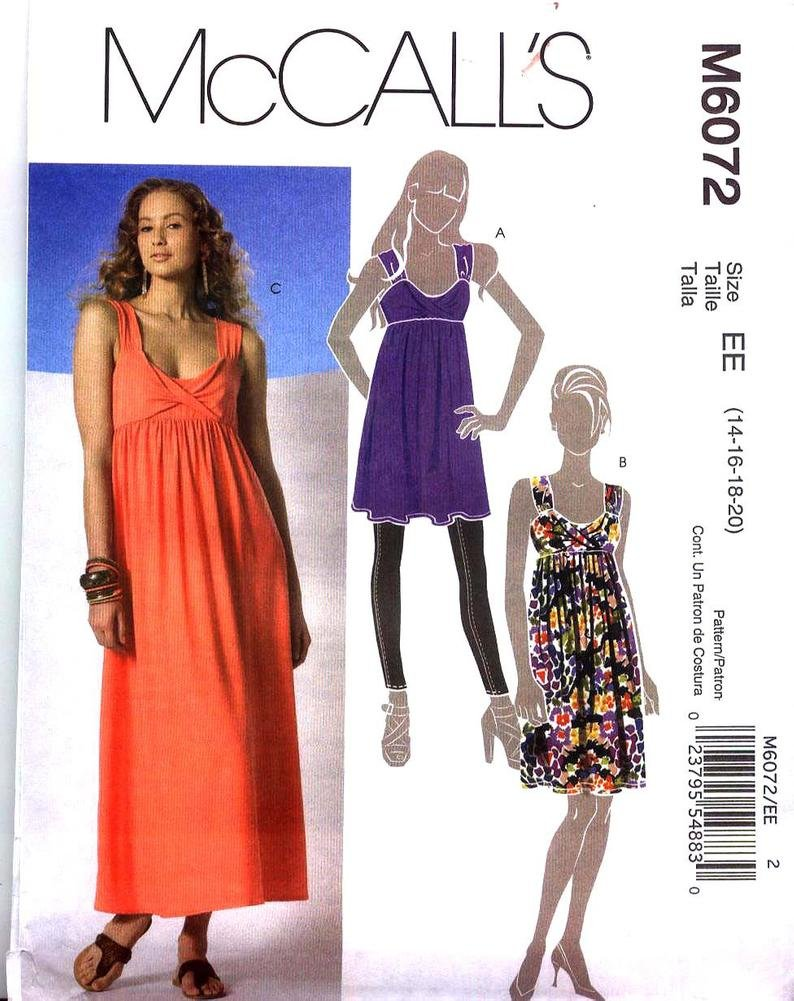 Tunic And Dress In 2 Lengths Misses  McCall's 6072 Size (6-8-10-12014)