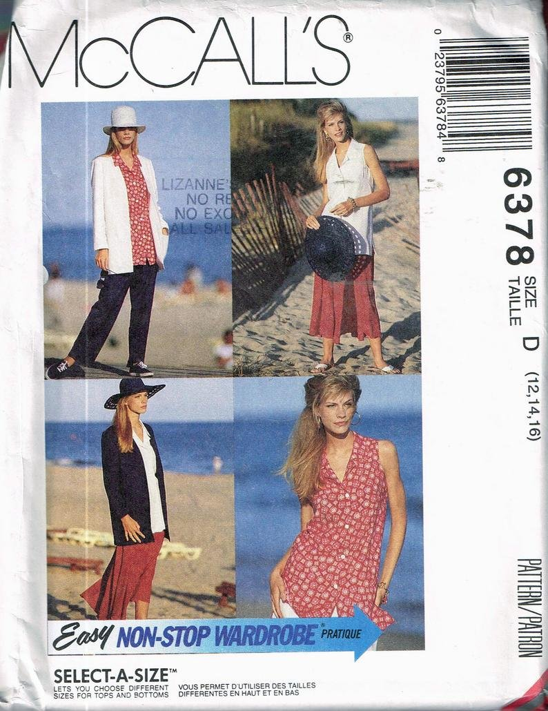 Misses Unlined Jacket blouse skirt and pants McCall's Pattern 6378  Size 141618